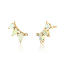 Opal and Diamond Ear Climber Earrings