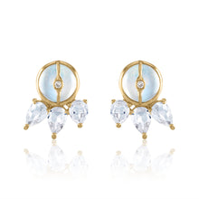 Organique2 Stud Earrings with Moonstone, White Topaz, Diamonds & 14k Gold