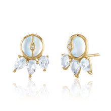 Moonstone and White Topaz Stud Earrings