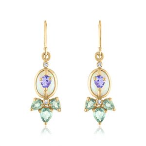 Opal, Tanzanite and Green Sapphire Earring