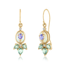 Opal Earrings with Tanzanite and Green Sapphires