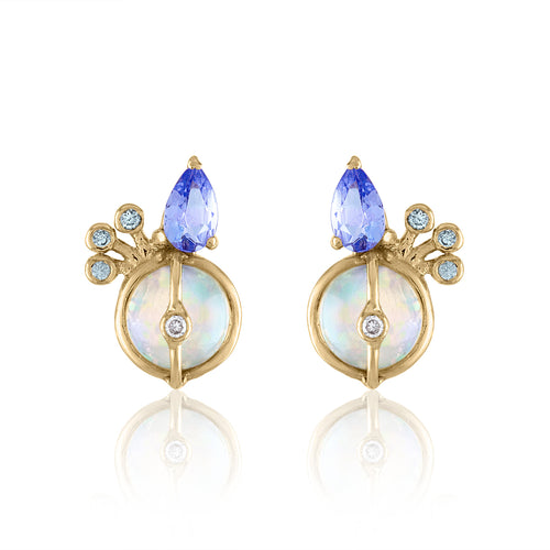 Organique2 Stud Earrings with Opal, Tanzanite, Diamonds, Green Sapphires & 14k Gold