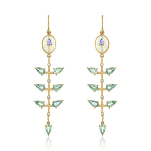 Opal, Tanzanite and Green Sapphire Dangle Earrings