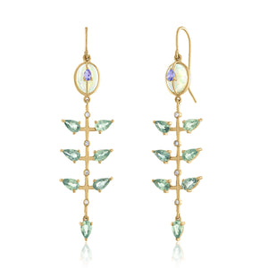 Opal Dangle Earrings with Green Sapphires and tanzanite