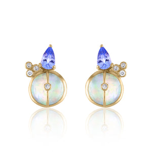 Organique2 Stud Earrings with Opal, Tanzanite, Diamonds & 14k Gold