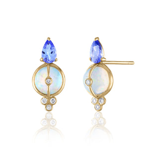 Opal and Tanzanite Stud Earrings