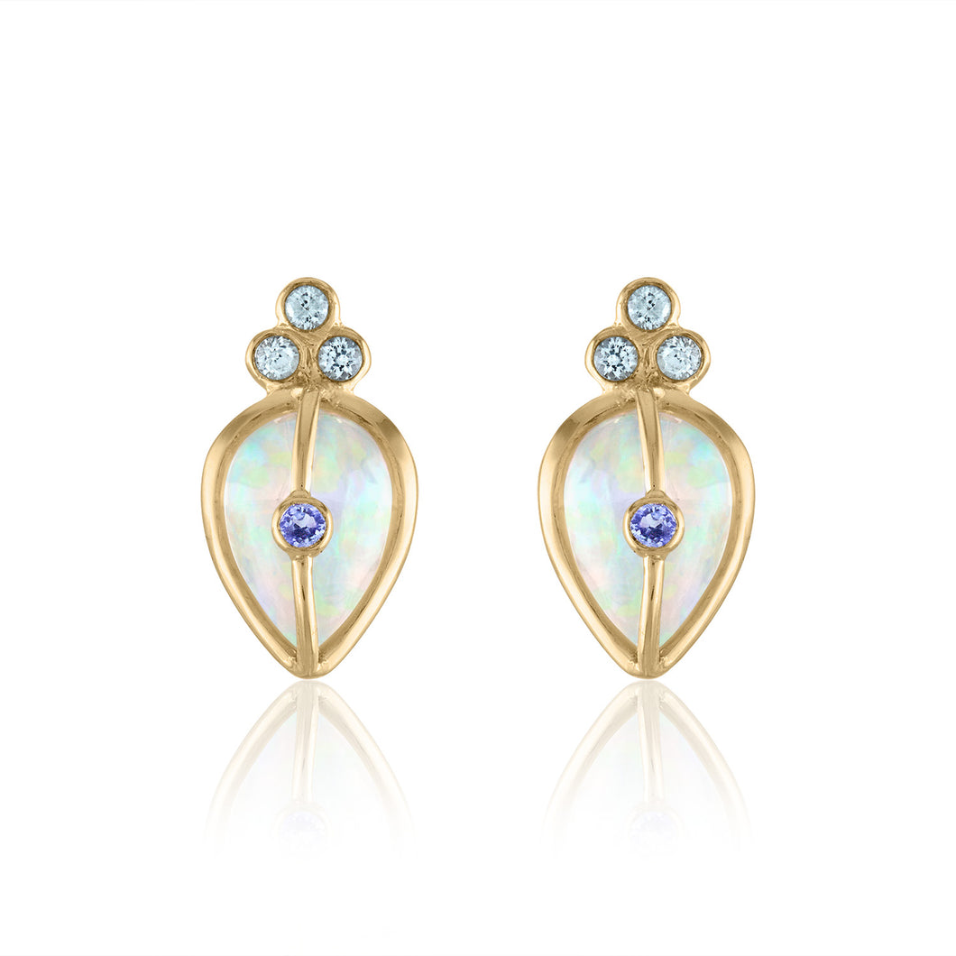 Organique2 Stud Earrings with Opal, Tanzanite, Green Sapphire & 14k Gold
