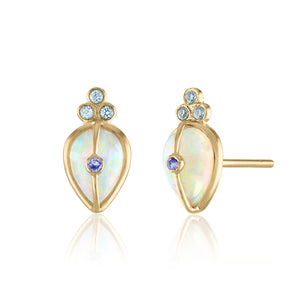 Opal and Green Sapphire Stud Earrings