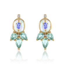 Organique2 Stud Earrings with Opal, Tanzanite, Green Sapphires, Diamonds & 14k Gold