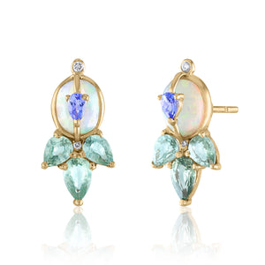 Opal and Green Sapphire Statement Studs