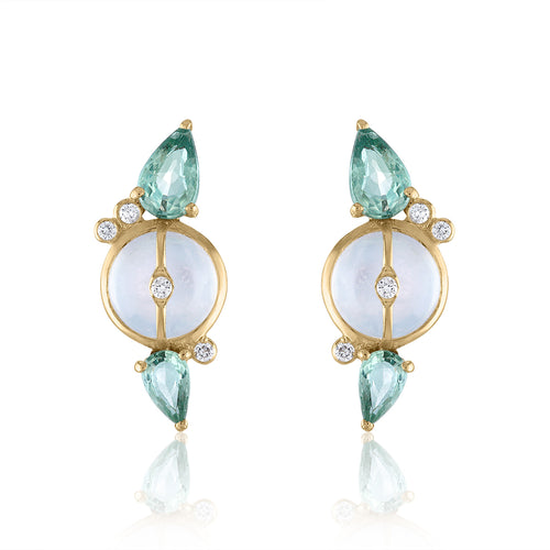 Organique2 Stud Earrings with Moonstone, Green Sapphires, Diamonds & 14k Gold