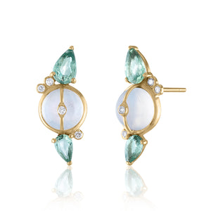 Moonstone and  Green Sapphire Stud Earrings