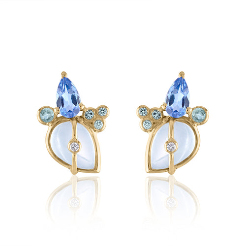Organique2 Stud Earrings with Moonstone, Tanzanite, Green Sapphires, Diamonds & 14k Gold