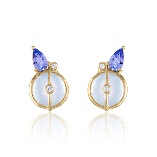 Organique2 Stud Earrings with Moonstone, Tanzanite, Diamonds & 14k Gold