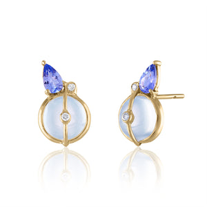 Moonstone and Tanzanite Stud Earrings