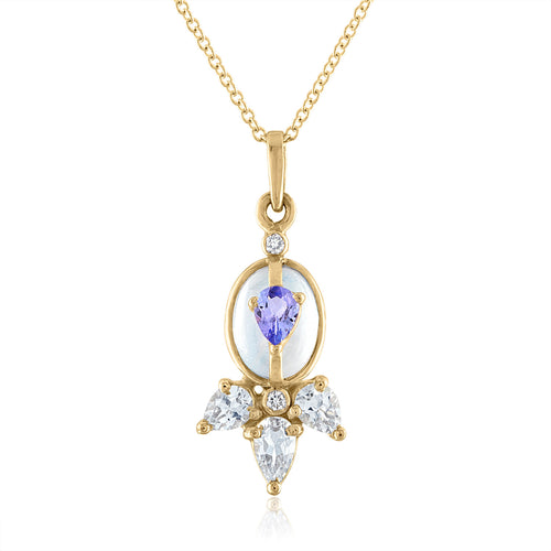 Organique2 Petite Pendant with Moonstone, Tanzanite, Diamonds & 14k Gold