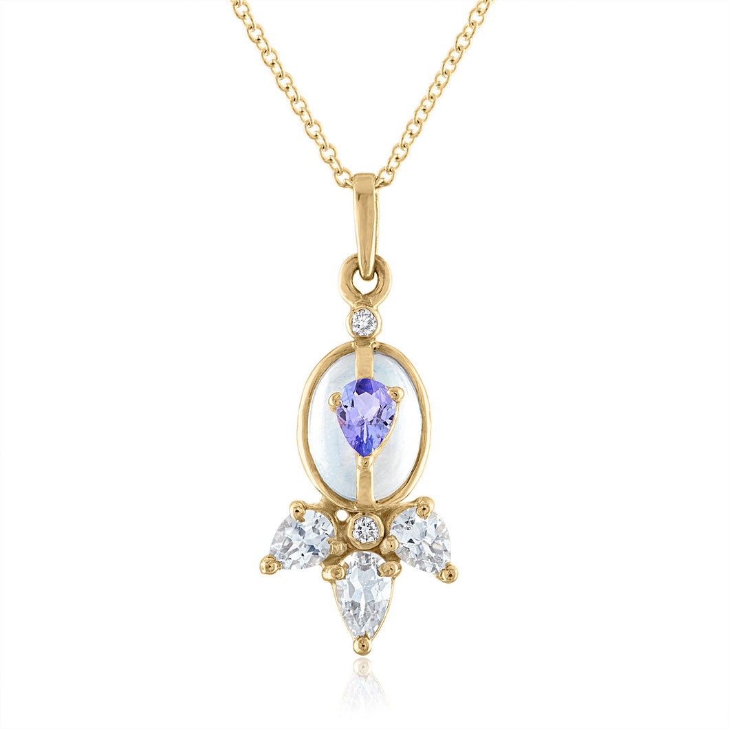 Moonstone Pendant with Tanzanite and White Topaz