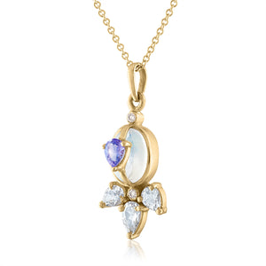 Moonstone and Tanzanite Pendant with White Topaz and Diamonds