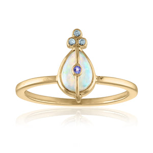 Organique2 Ring with Opal, Tanzanite, Green Sapphires & 14k Gold