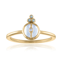 Organique2 Ring with Moonstone, Green Sapphires & 14k Gold