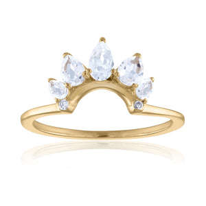 Organique2 Ring with White Topaz, Diamonds & 14k Gold