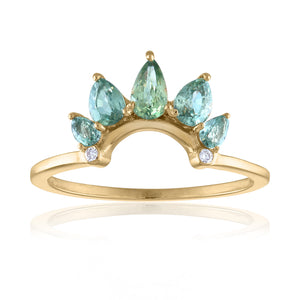 Organique2 Ring with Green Sapphires, Diamonds & 14k Gold
