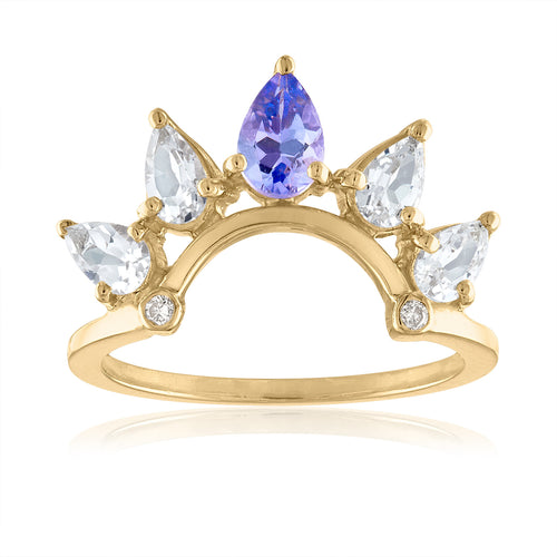 White Topaz and Tanzanite Crown Ring