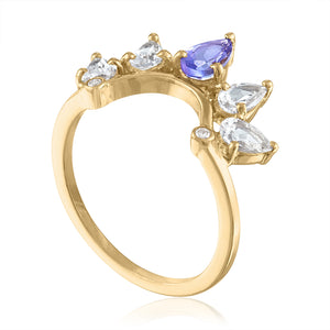 White Topaz Ring with Tanzanite