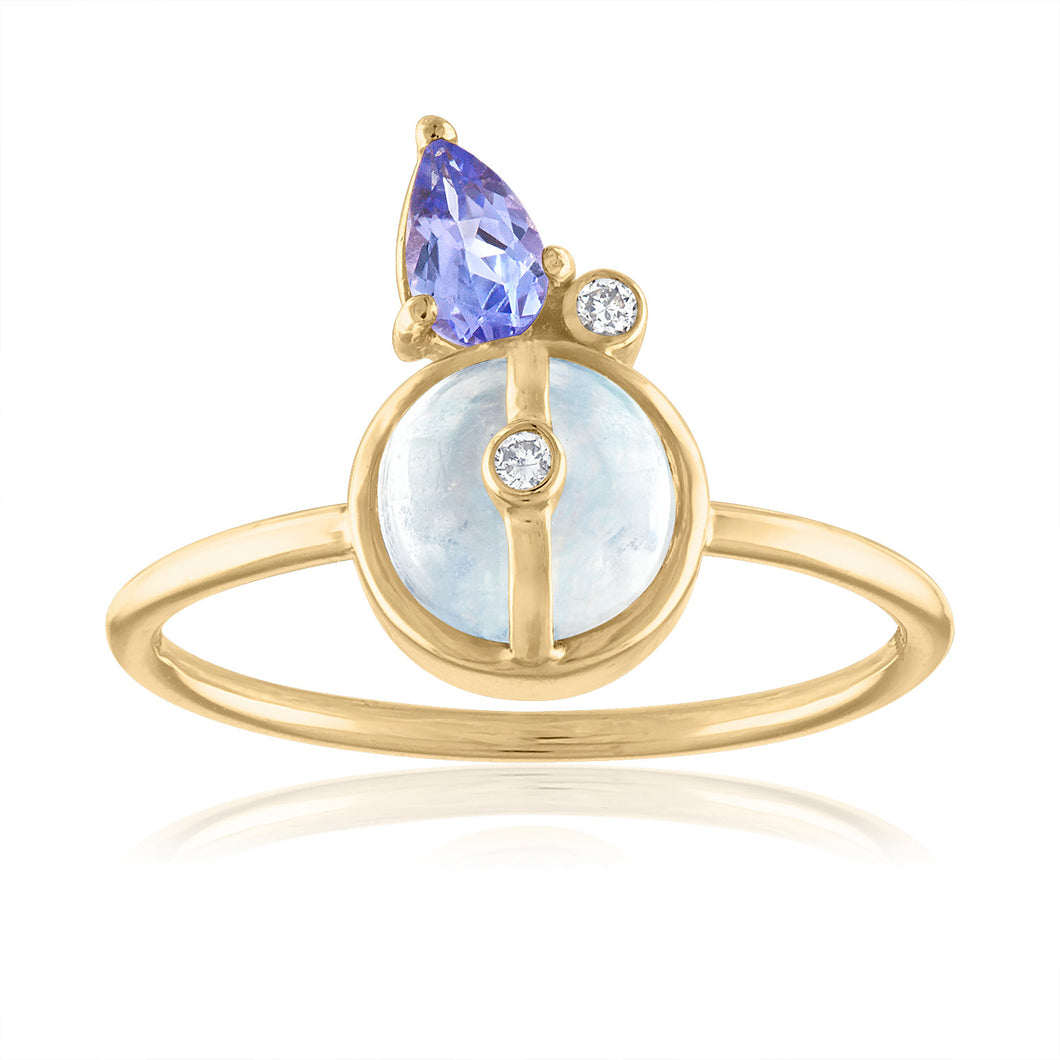 Moonstone and Tanzanite Ring