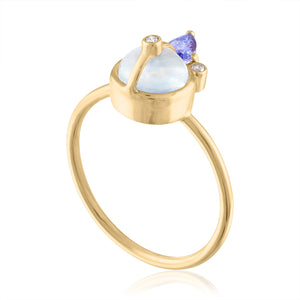 moonstone Ring with Tanzanite and Diamonds