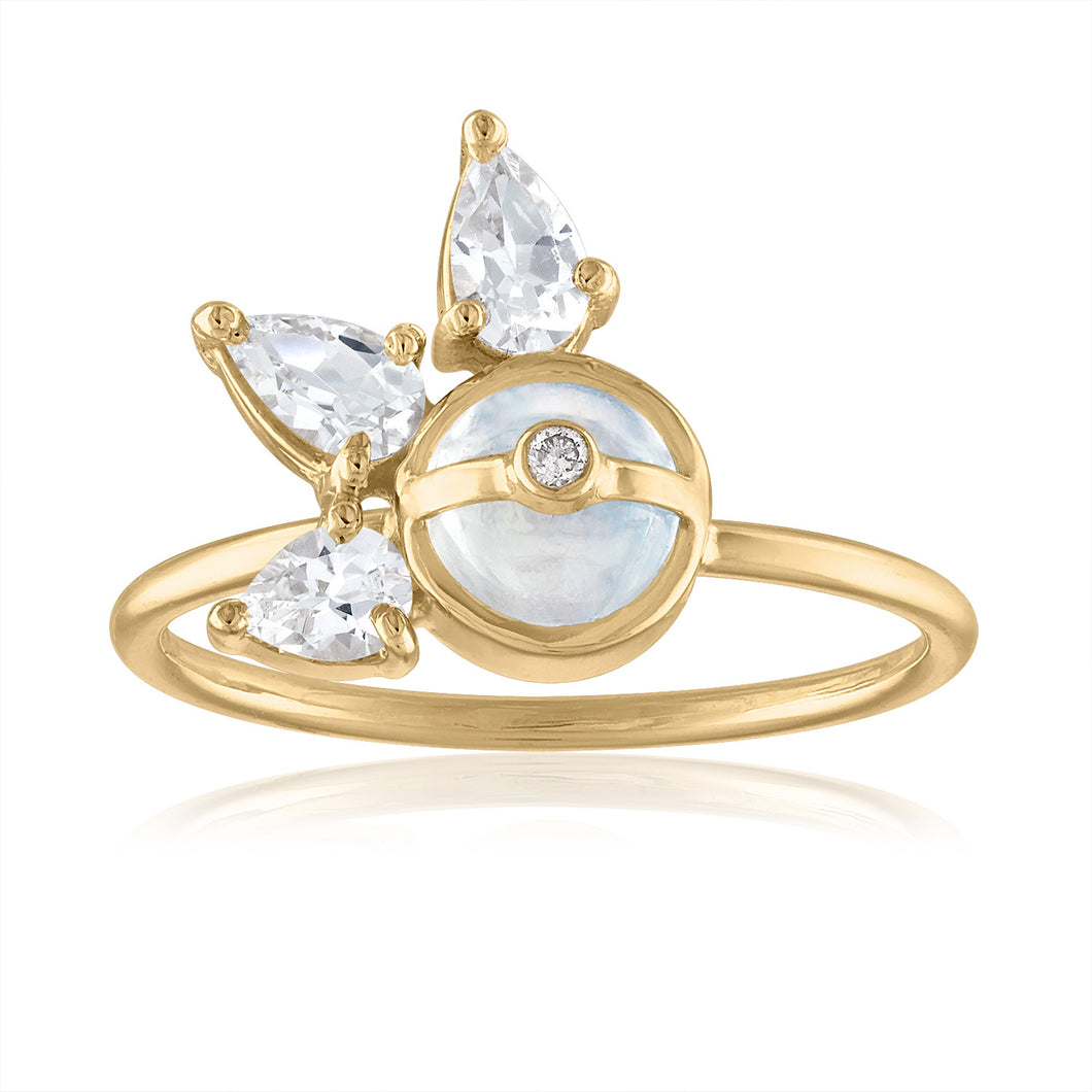 Moonstone and White Topaz Ring