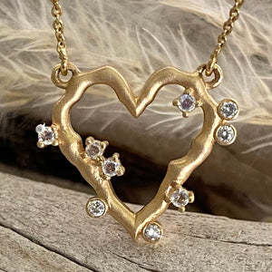 HEART PENDANT WITH MOONSTONES AND DIAMONDS