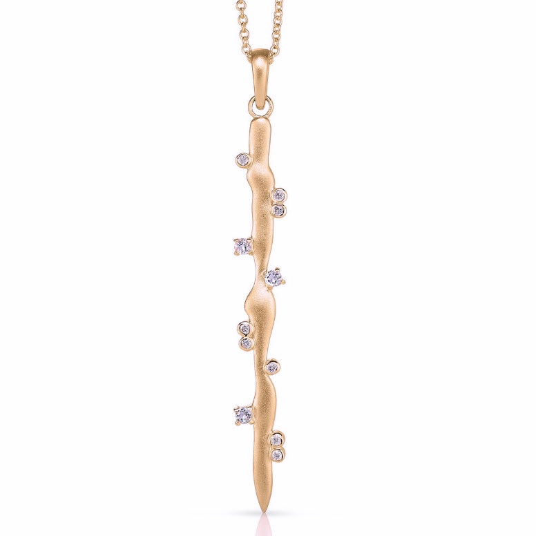 STICK PENDANT WITH MOONSTONE AND DIAMONDS ROSE GOLD