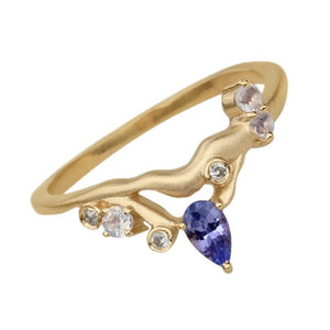 Tanzanite, Diamond and Moonstone Ring