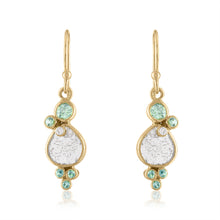 Diamond Slice Dangle Earrings with Green Sapphires