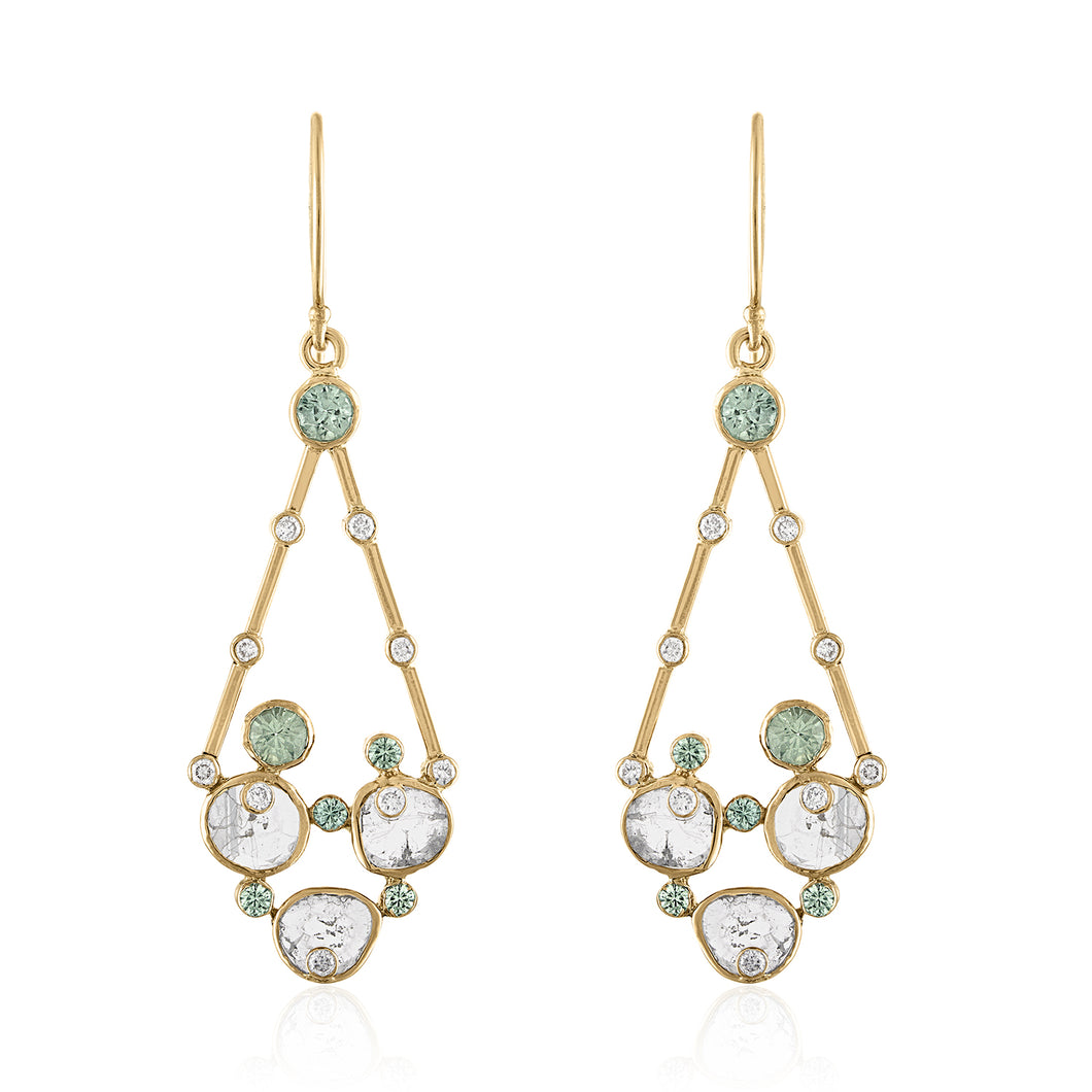 DIAMOND SLICE AND GREEN SAPPHIRE EARRINGS