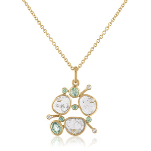 DIAMOND SLICE CLUSTER PENDANT WITH GREEN SAPPHIRES