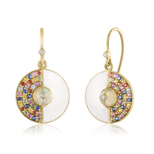 Unity Earrings with Sapphires, White Enamel & Ethiopian Opal by LORIANN Jewelry
