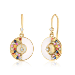 Unity Earrings with Sapphires, White Enamel & Ethiopian Opal