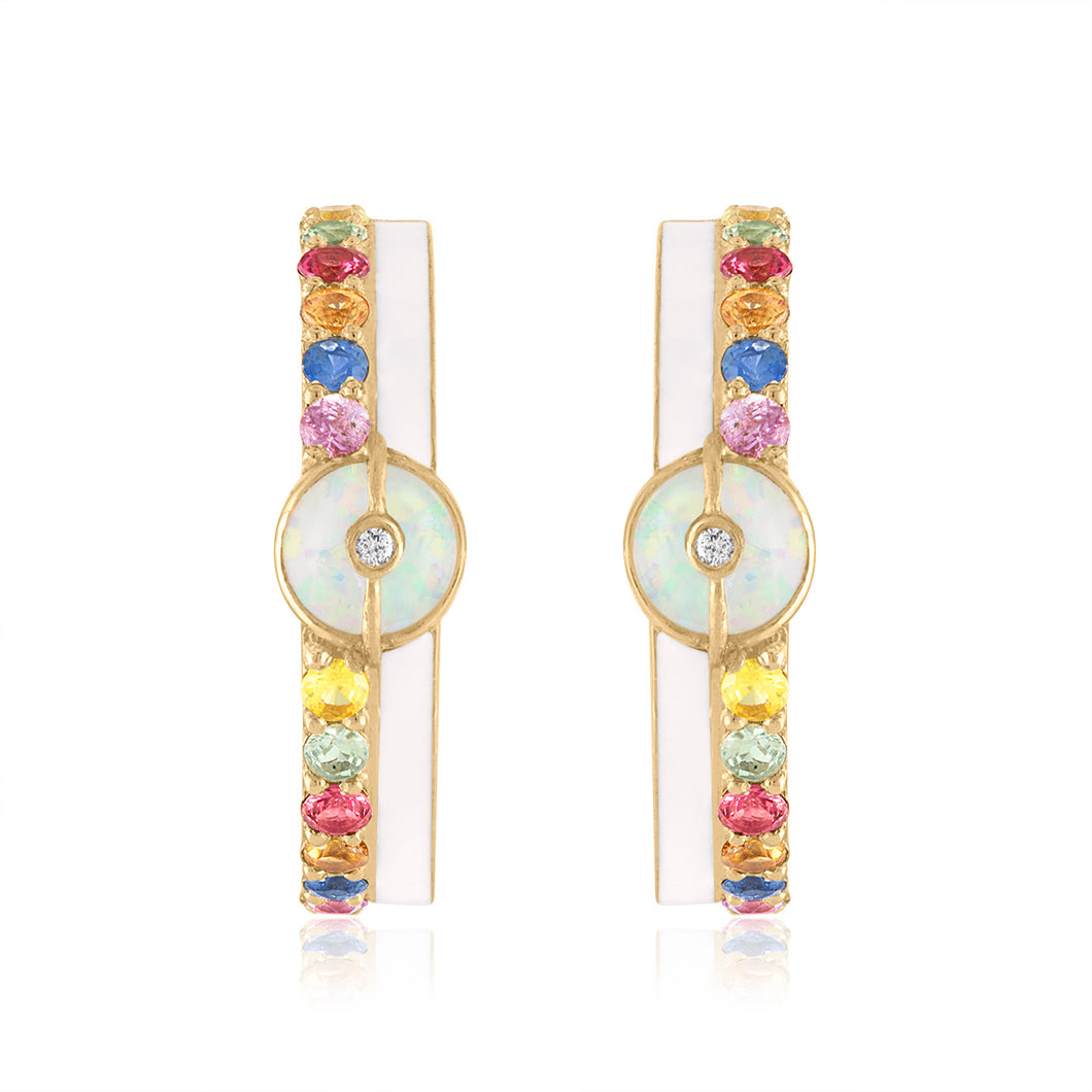 Hoop Earrings with Sapphires, Enamel and Opal
