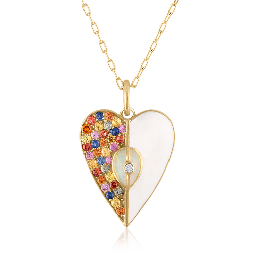 Unity Heart Pendant Necklace with Sapphires, White Enamel & Ethiopian Opal
