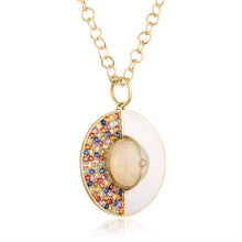 Unity Pendant Necklace with Sapphires, White Enamel & Ethiopian Opal by LORIANN Jewelry