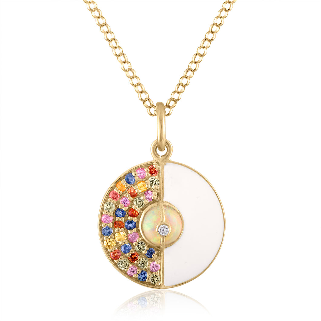 Unity Small Pendant Necklace with Sapphires, White Enamel & Ethiopian Opal by LORIANN Jewelry