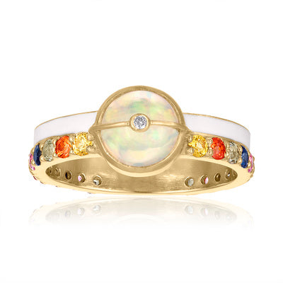 Unity Ring with Sapphires, White Enamel & Ethiopian Opal