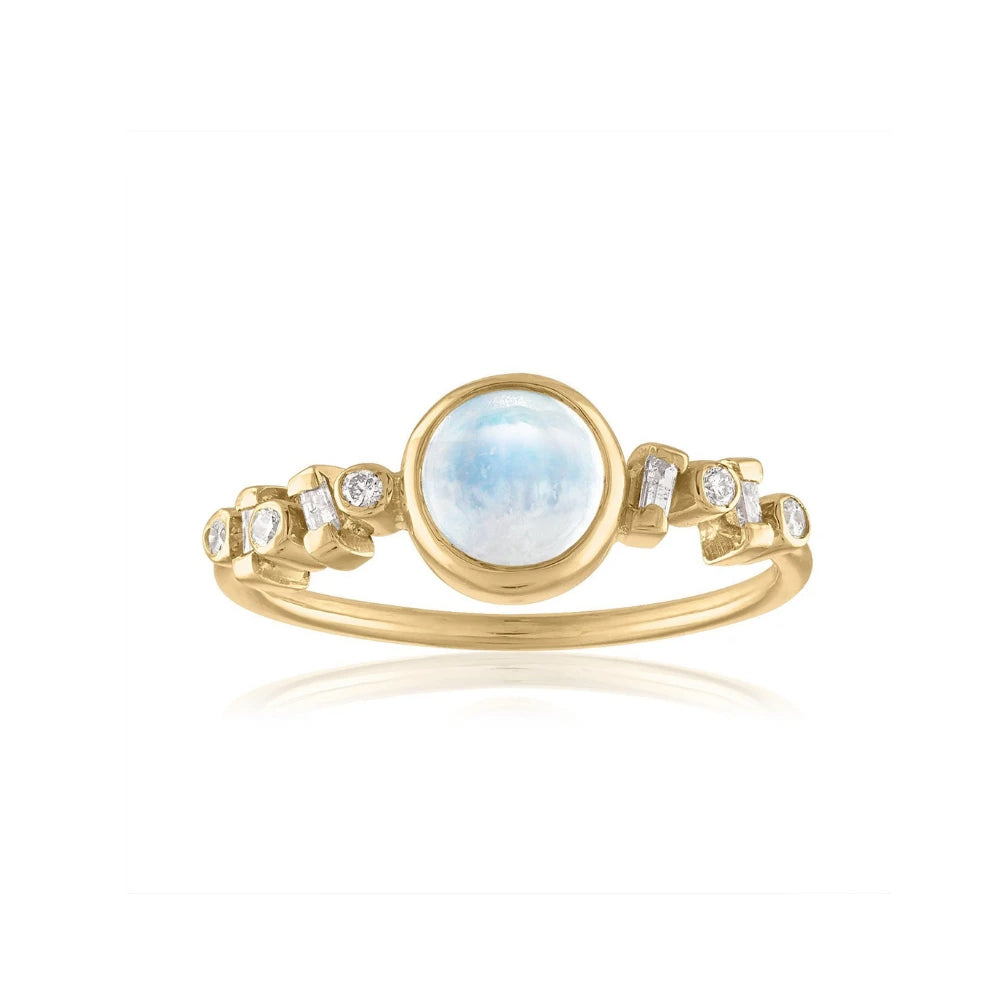 moonstone and baguette diamond ring