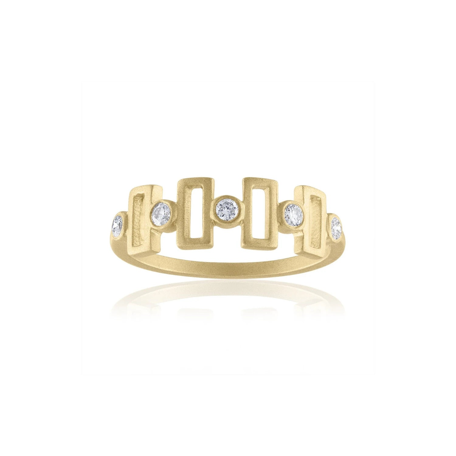 GOLD AND DIAMOND GEOMETRIC RING