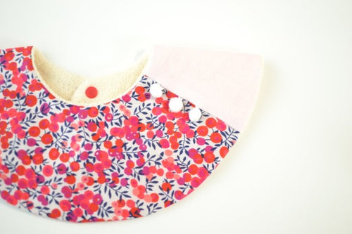 Bib Pompom Collar Bib in Liberty® Wiltshire Berry - Happy Poppets