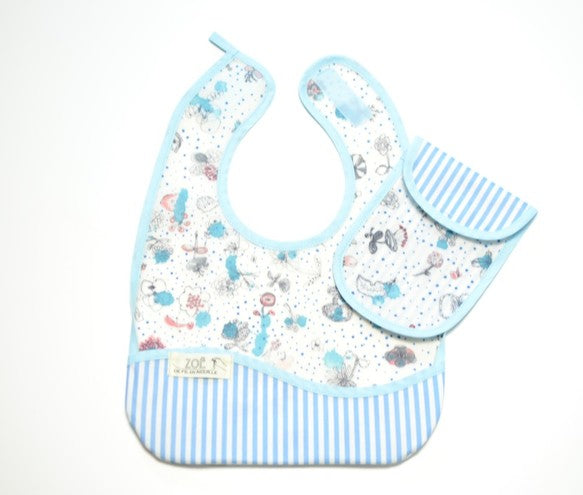 Bib Dining Apron in Liberty® Light Blue Garden - Happy Poppets