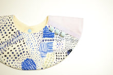 Bib Pompom Collar Bib in Blue & Ivory Prints - Happy Poppets