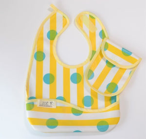 Bib Dining Apron in Yellow Stripes - Happy Poppets